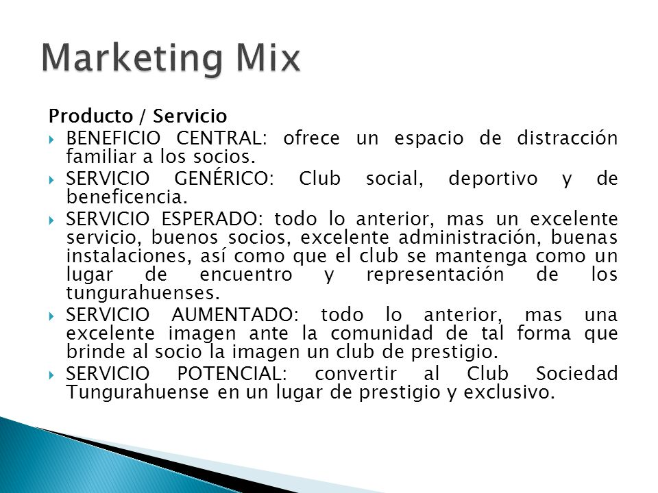Marketing Mix Producto / Servicio