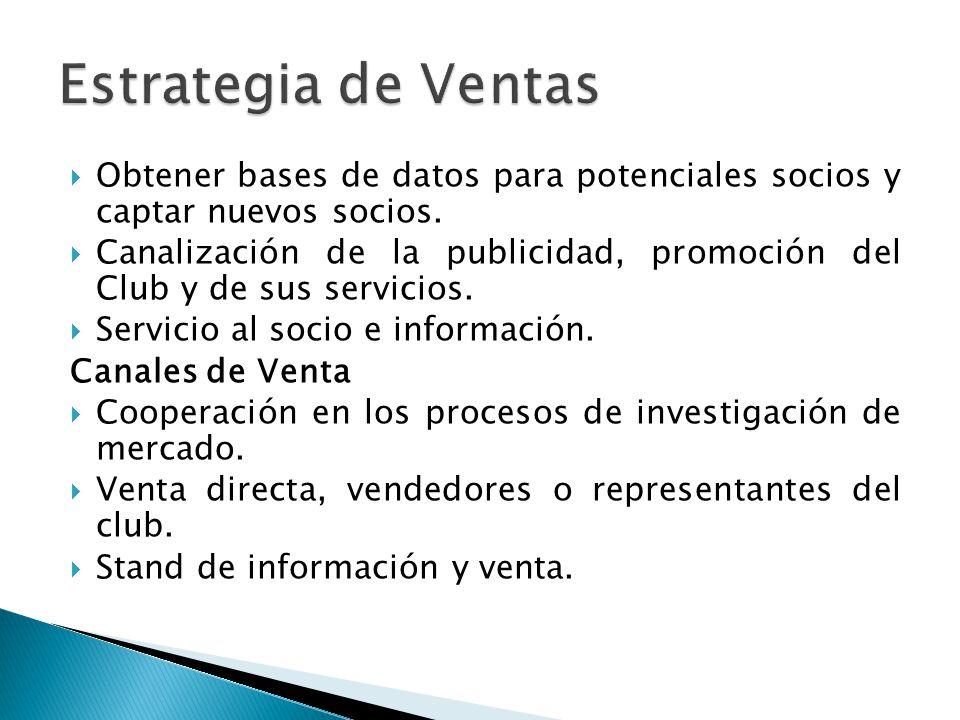 Estrategia de Ventas Obtener bases de datos para potenciales socios y captar nuevos socios.