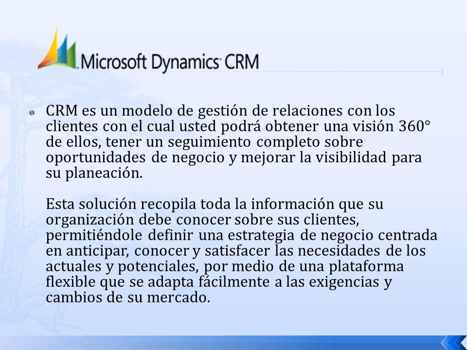 CRM es un modelo de gestión de relaciones con los clientes con el cual usted podrá obtener una visión 360° de ellos, tener un seguimiento completo sobre oportunidades de negocio y mejorar la visibilidad para su planeación.