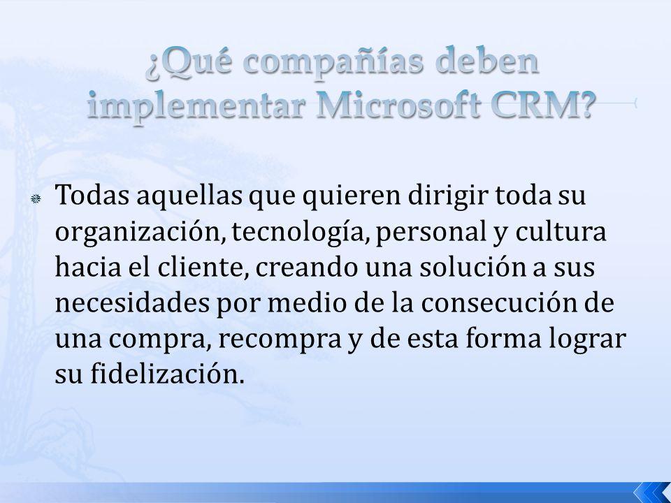 ¿Qué compañías deben implementar Microsoft CRM