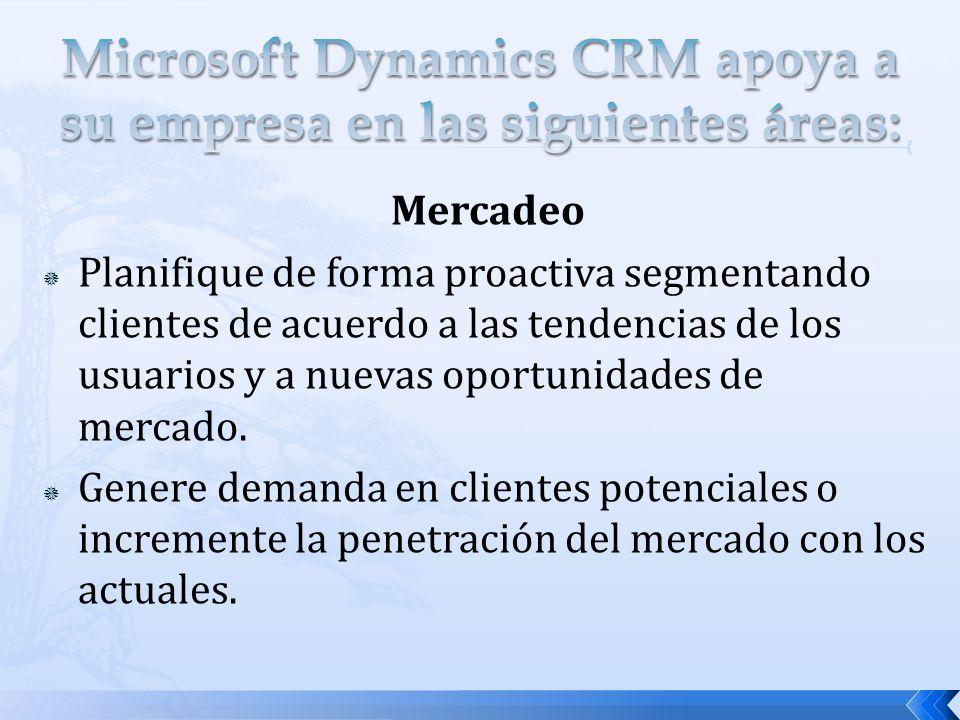 Microsoft Dynamics CRM apoya a su empresa en las siguientes áreas: