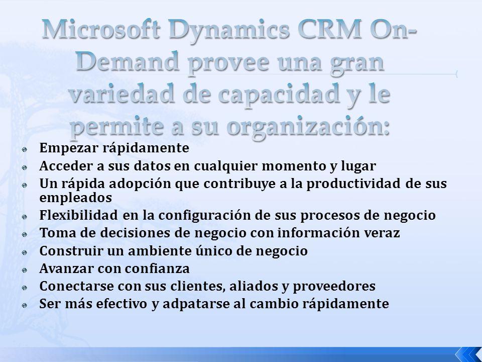 Microsoft Dynamics CRM On-Demand provee una gran variedad de capacidad y le permite a su organización: