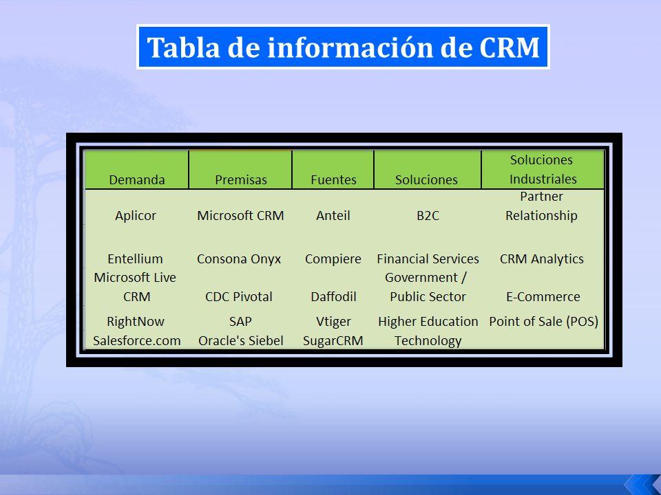 Tabla de información de CRM
