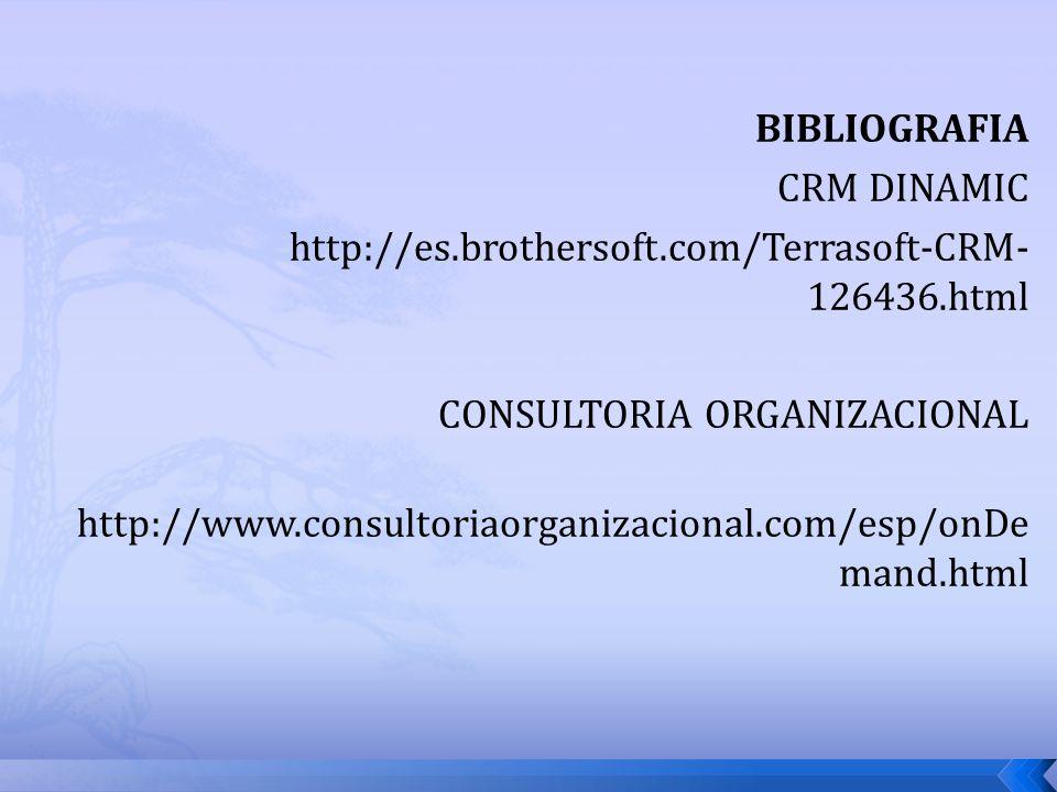 BIBLIOGRAFIA CRM DINAMIC. http://es.brothersoft.com/Terrasoft-CRM-126436.html. CONSULTORIA ORGANIZACIONAL.