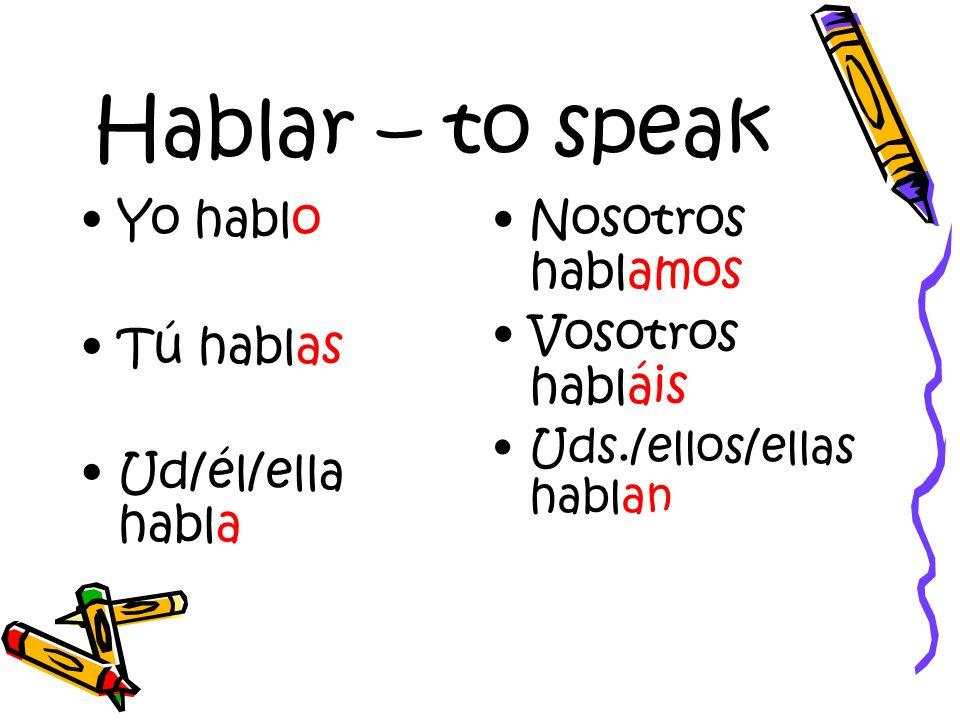 Hablar – to speak Yo hablo Tú hablas Ud/él/ella habla