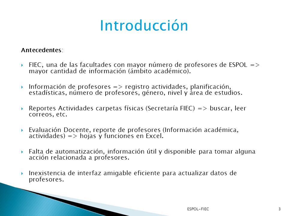 Introducción Antecedentes: FIEC, una de las facultades con mayor número de profesores de ESPOL => mayor cantidad de información (ámbito académico).