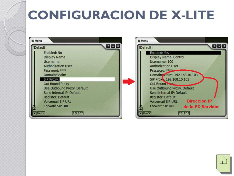 CONFIGURACION DE X-LITE