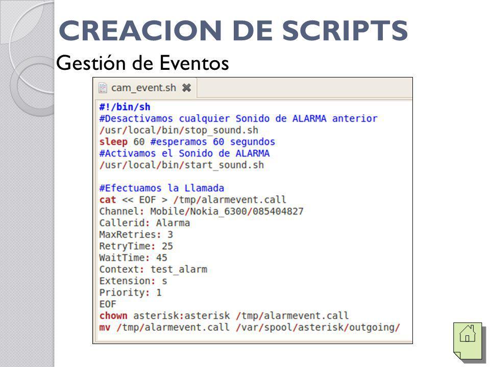 CREACION DE SCRIPTS Gestión de Eventos