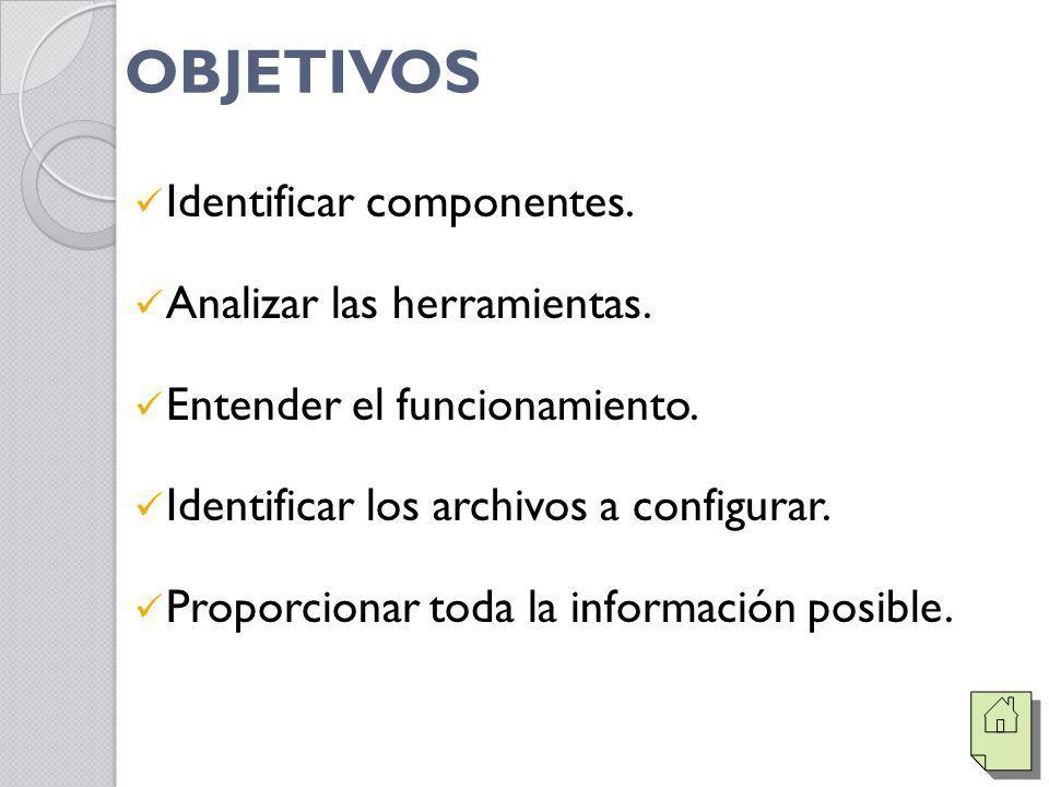 OBJETIVOS Identificar componentes. Analizar las herramientas.
