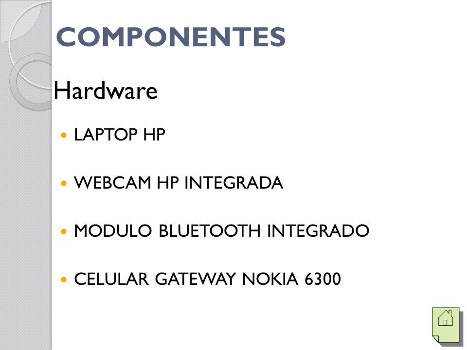 COMPONENTES Hardware LAPTOP HP WEBCAM HP INTEGRADA