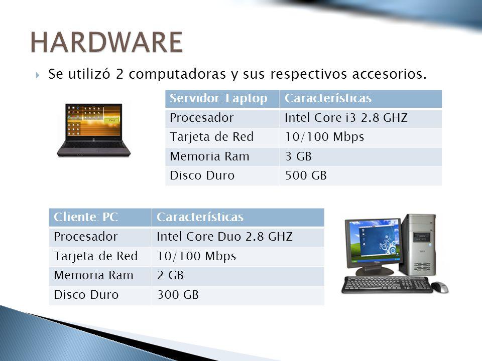 HARDWARE Se utilizó 2 computadoras y sus respectivos accesorios.