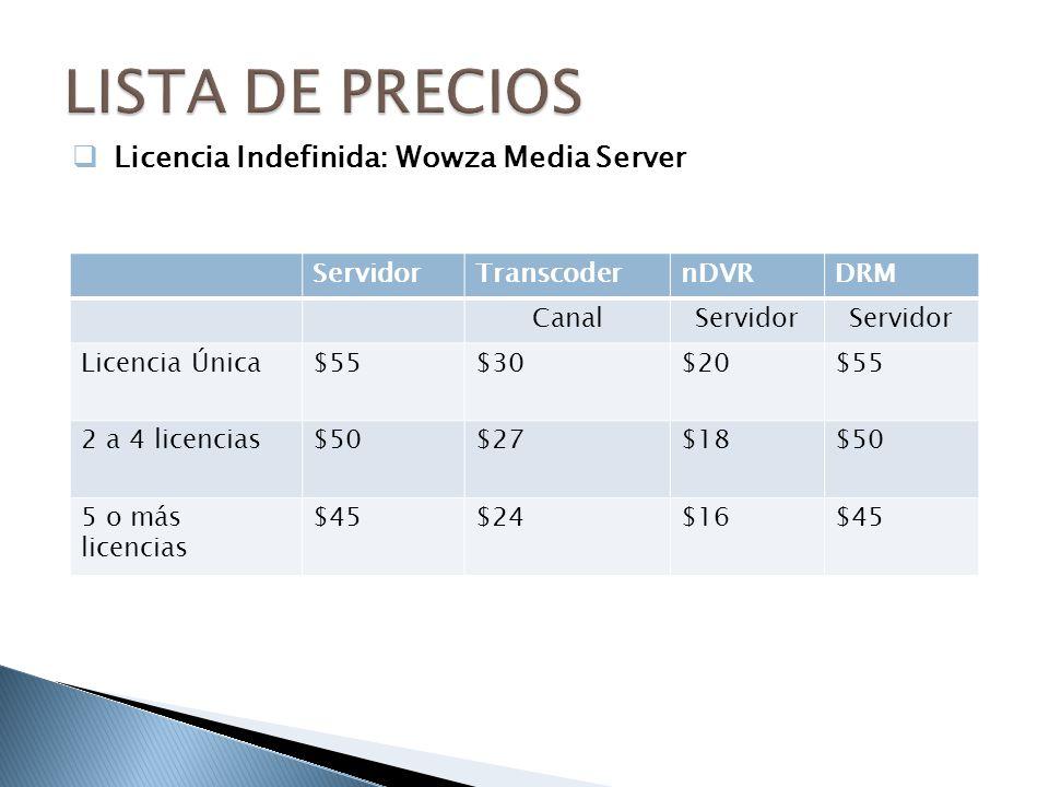 LISTA DE PRECIOS Licencia Indefinida: Wowza Media Server Servidor