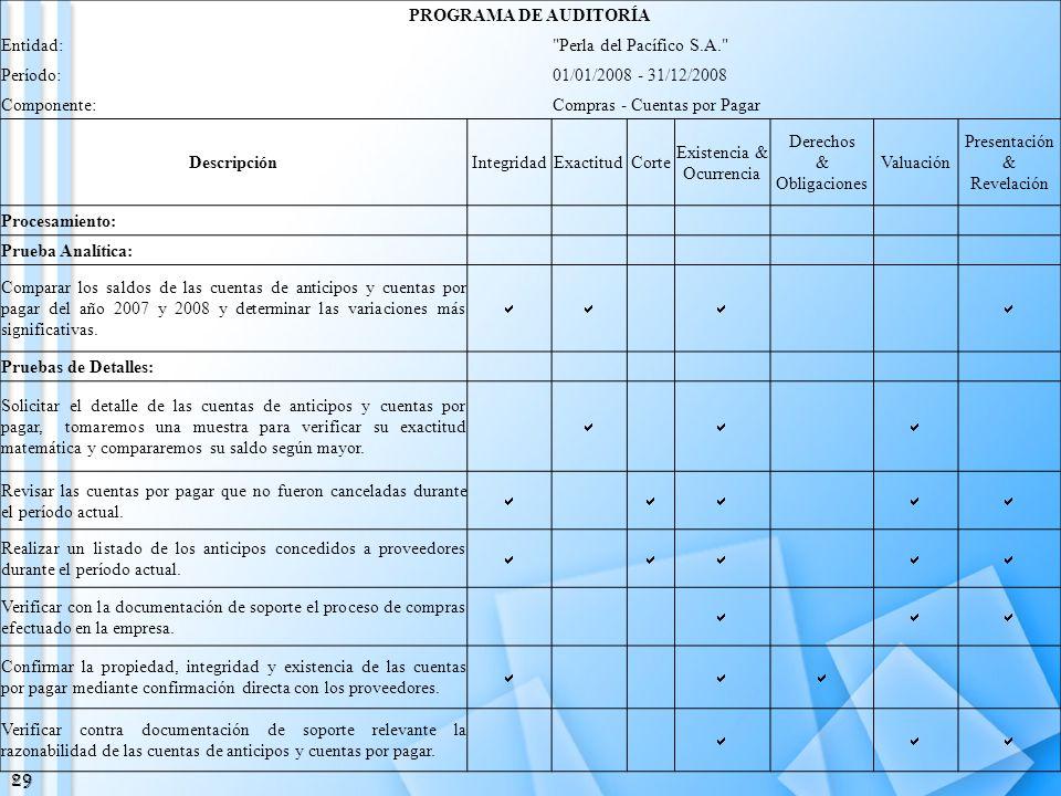 PROGRAMA DE AUDITORÍA Descripción