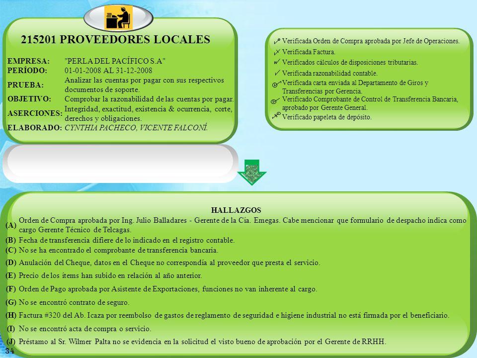 215201 PROVEEDORES LOCALES EMPRESA: PERLA DEL PACÍFICO S.A PERÍODO:
