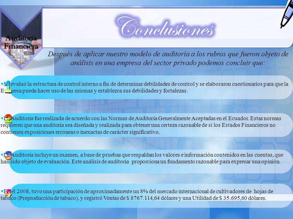 Conclusiones Auditoría Financiera