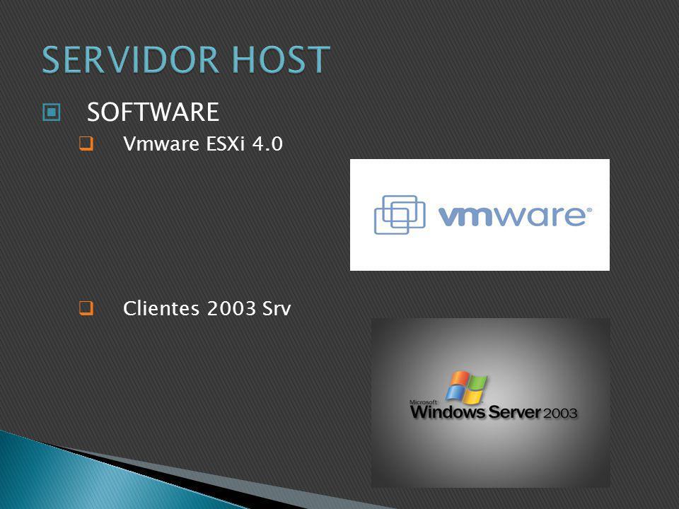 SERVIDOR HOST SOFTWARE Vmware ESXi 4.0 Clientes 2003 Srv