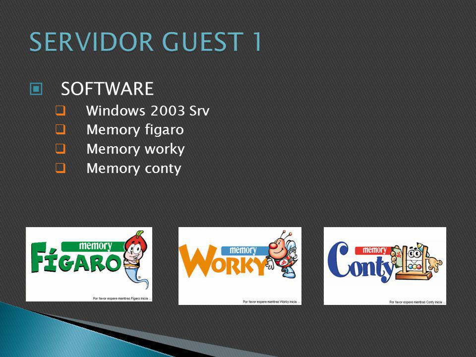 SERVIDOR GUEST 1 SOFTWARE Windows 2003 Srv Memory figaro Memory worky