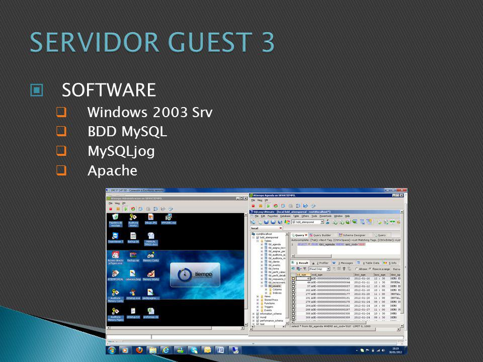 SERVIDOR GUEST 3 SOFTWARE Windows 2003 Srv BDD MySQL MySQLjog Apache