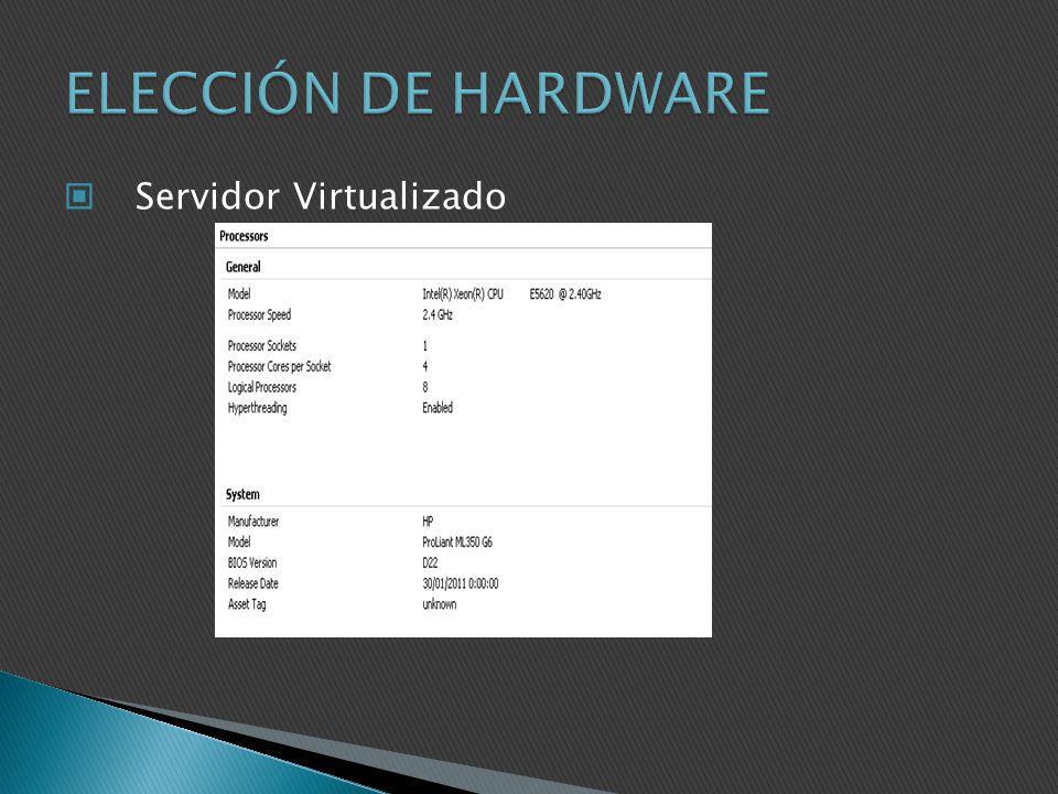 ELECCIÓN DE HARDWARE Servidor Virtualizado