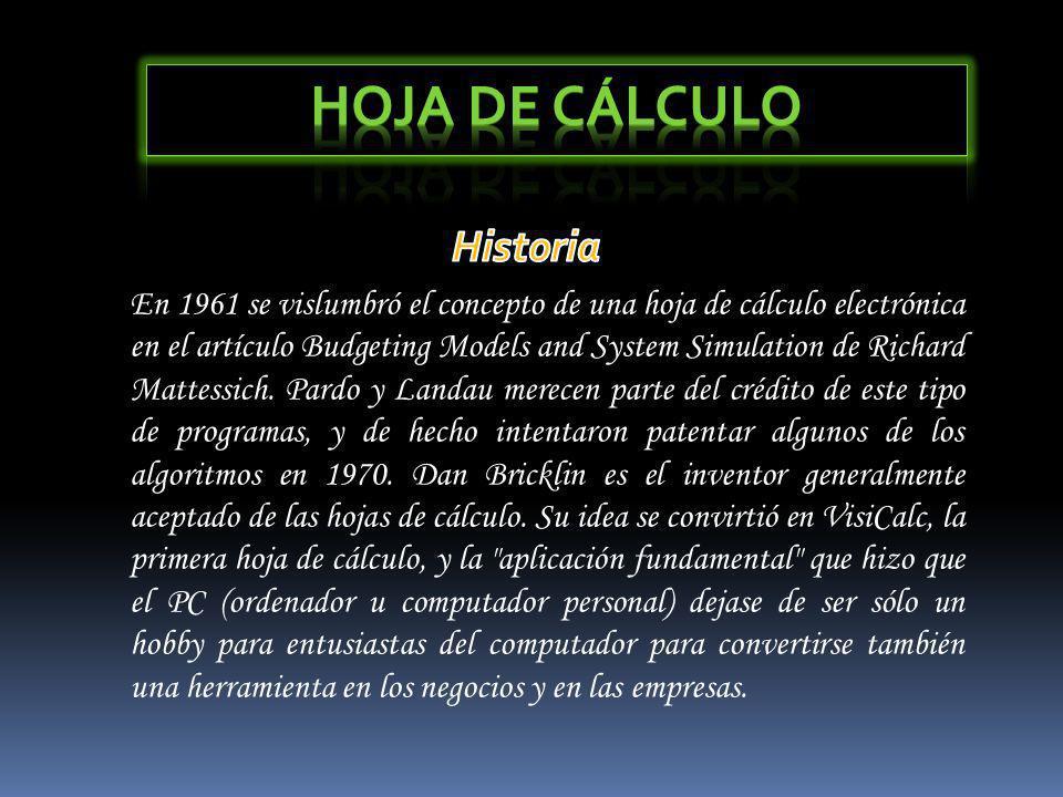 Hoja de Cálculo Historia