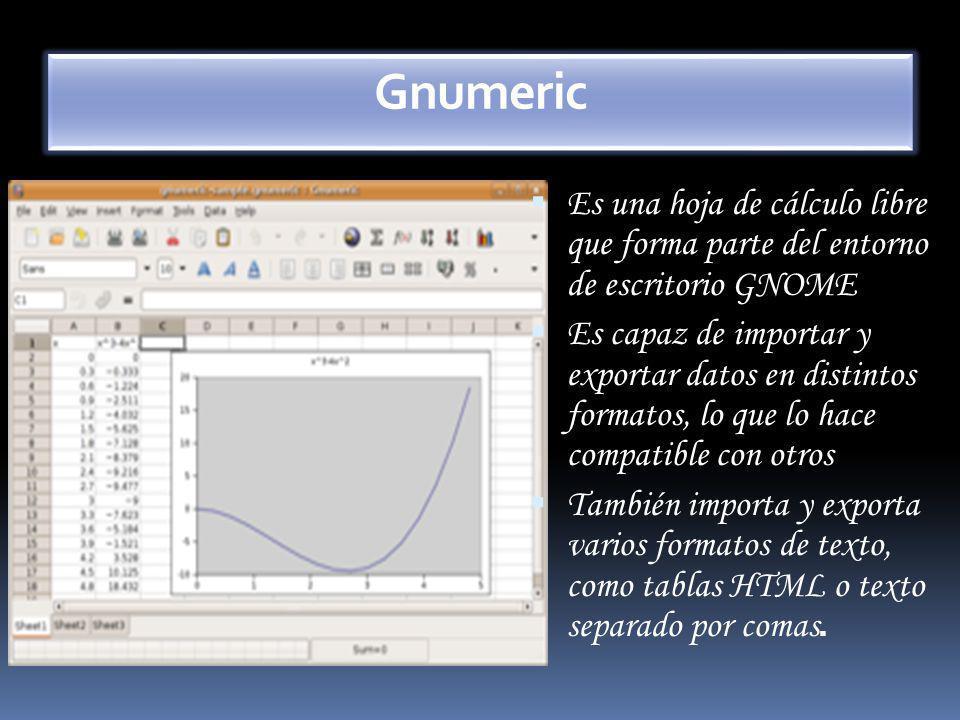 Gnumeric Es una hoja de cálculo libre que forma parte del entorno de escritorio GNOME.