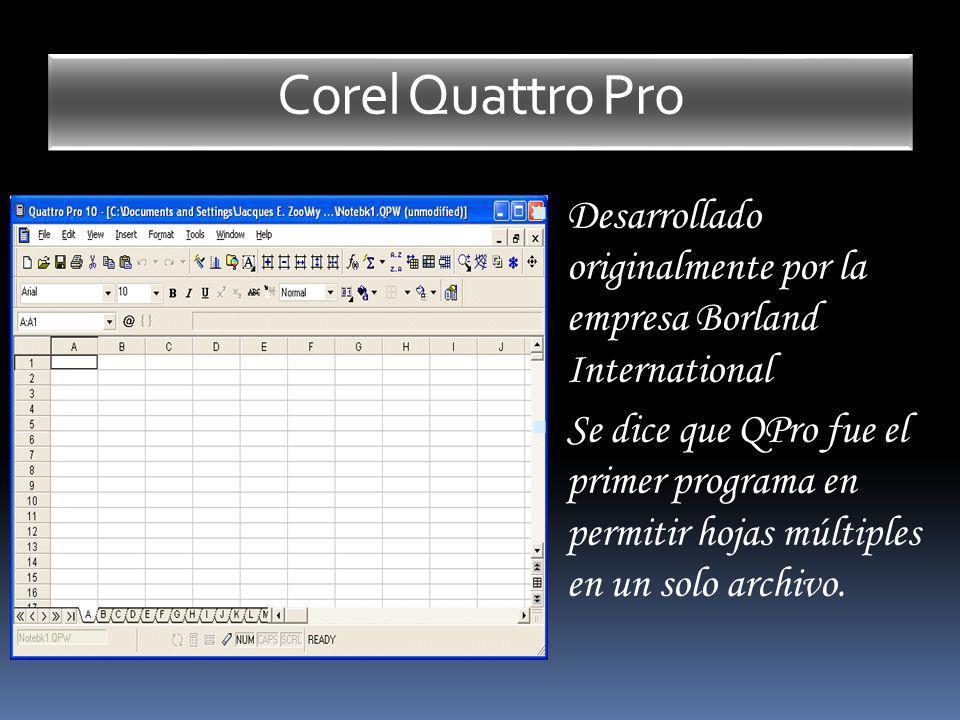 Corel Quattro Pro Desarrollado originalmente por la empresa Borland International.