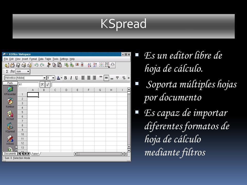 KSpread Es un editor libre de hoja de cálculo.