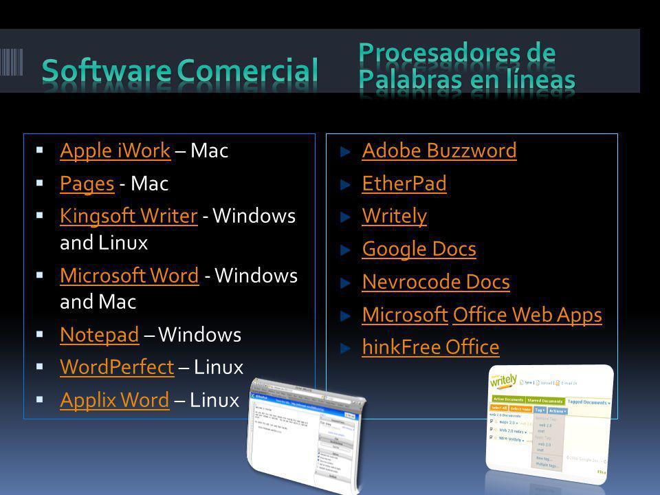 Software Comercial Procesadores de Palabras en líneas