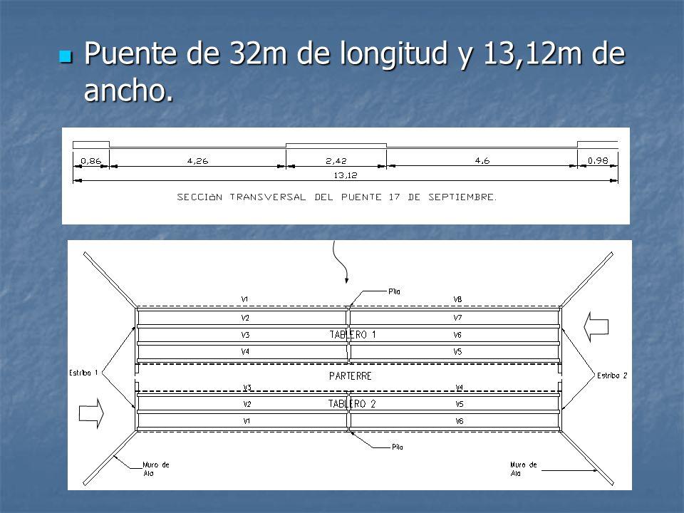 Puente de 32m de longitud y 13,12m de ancho.