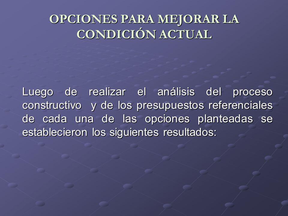OPCIONES PARA MEJORAR LA CONDICIÓN ACTUAL