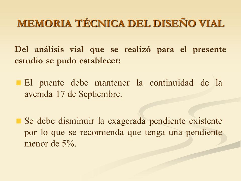 MEMORIA TÉCNICA DEL DISEÑO VIAL