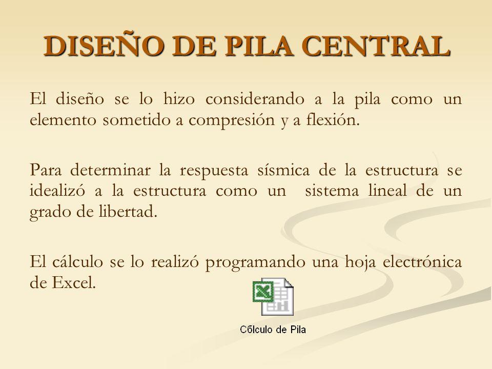 DISEÑO DE PILA CENTRAL El diseño se lo hizo considerando a la pila como un elemento sometido a compresión y a flexión.