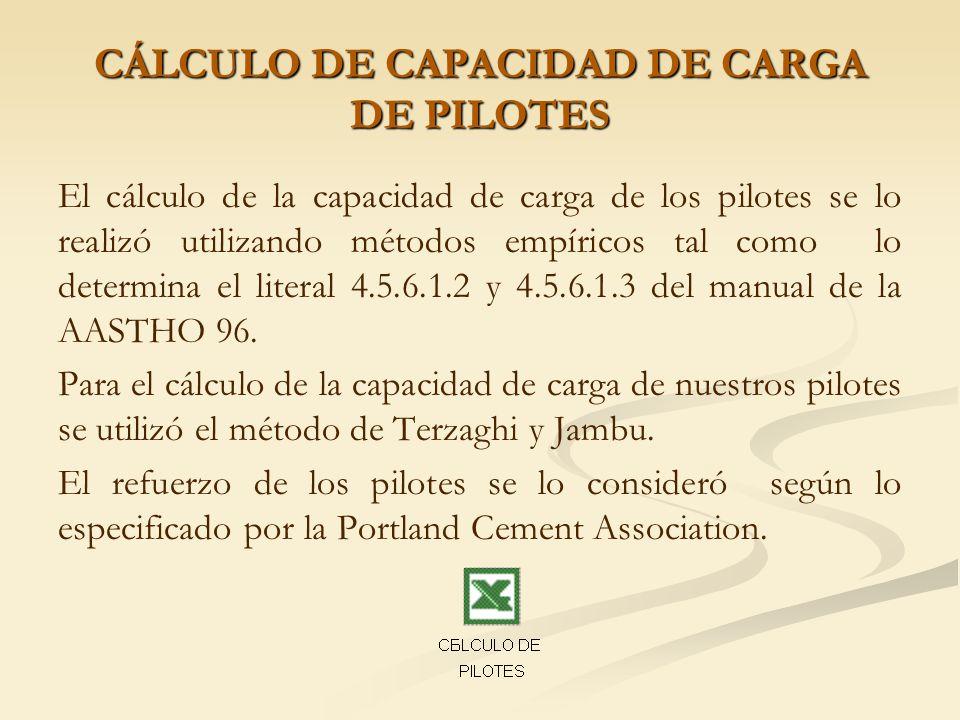 CÁLCULO DE CAPACIDAD DE CARGA DE PILOTES