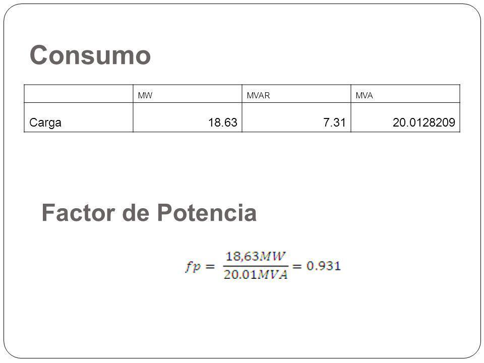 Consumo MW MVAR MVA Carga 18.63 7.31 20.0128209 Factor de Potencia
