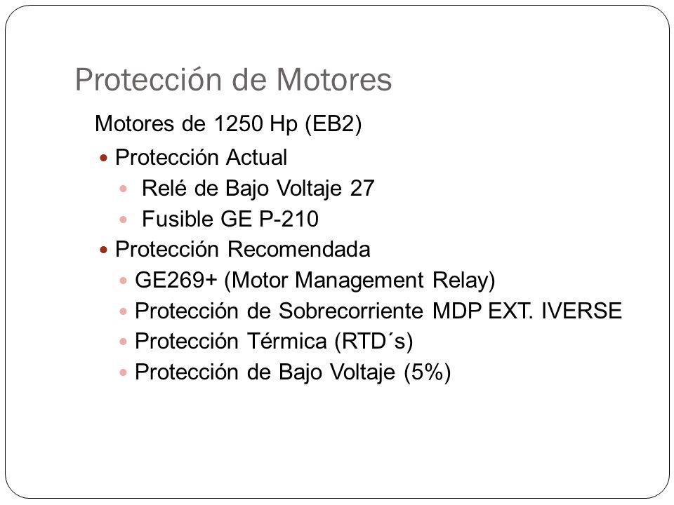 Protección de Motores Motores de 1250 Hp (EB2) Protección Actual