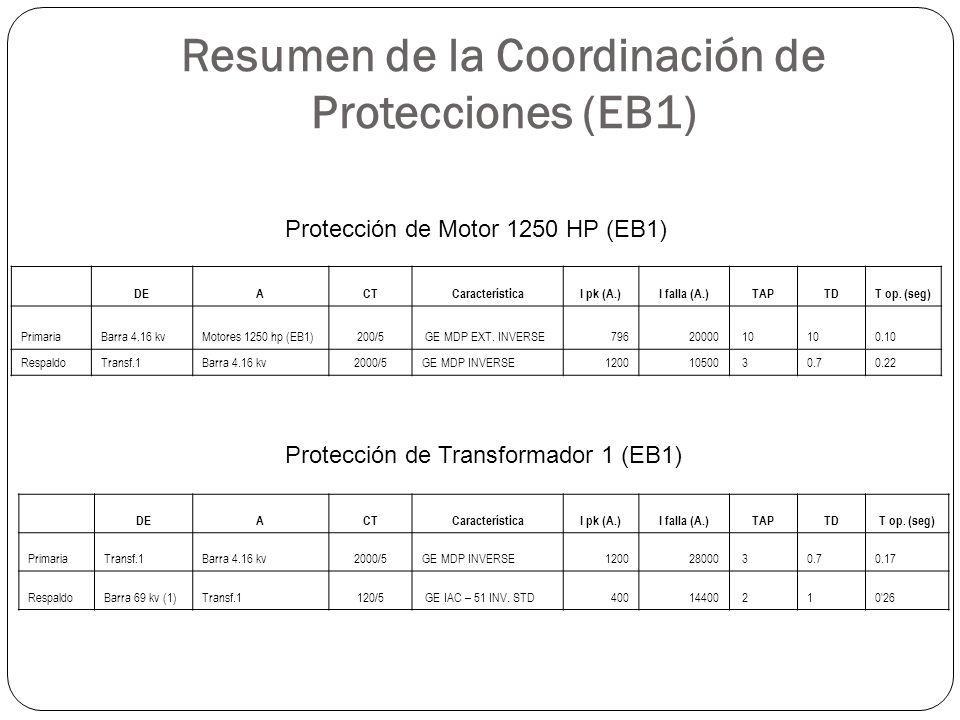 Resumen de la Coordinación de Protecciones (EB1)