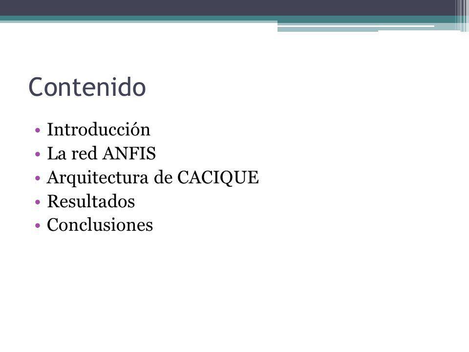 Contenido Introducción La red ANFIS Arquitectura de CACIQUE Resultados