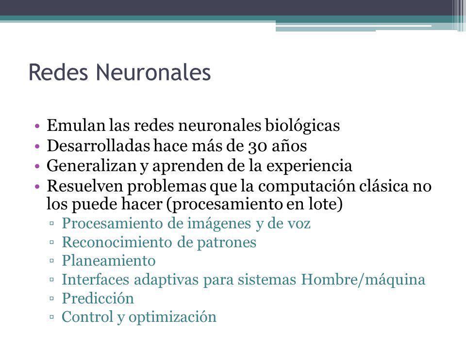 Redes Neuronales Emulan las redes neuronales biológicas