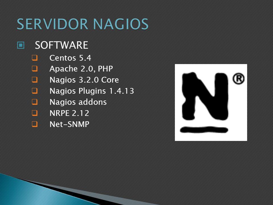 SERVIDOR NAGIOS SOFTWARE Centos 5.4 Apache 2.0, PHP Nagios 3.2.0 Core