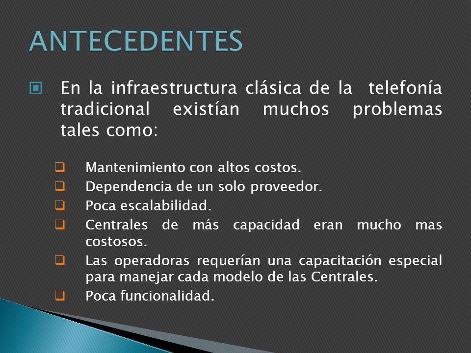 ANTECEDENTES En la infraestructura clásica de la telefonía tradicional existían muchos problemas tales como: