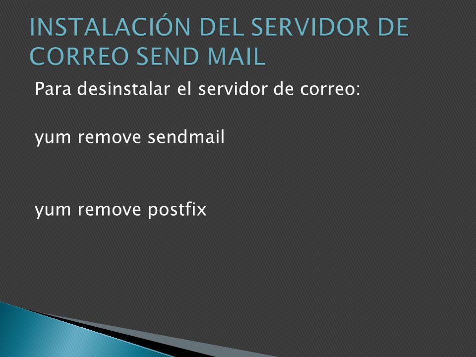 INSTALACIÓN DEL SERVIDOR DE CORREO SEND MAIL