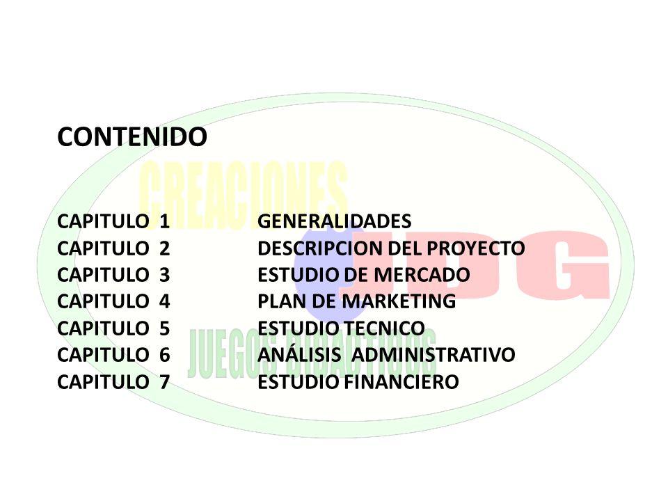 CONTENIDO CAPITULO 1 GENERALIDADES. CAPITULO 2 DESCRIPCION DEL PROYECTO. CAPITULO 3 ESTUDIO DE MERCADO.