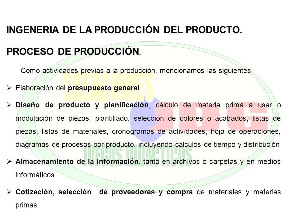 INGENERIA DE LA PRODUCCIÓN DEL PRODUCTO. PROCESO DE PRODUCCIÓN.