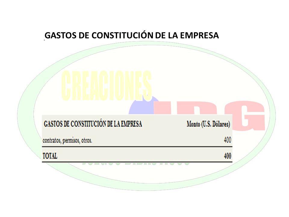 GASTOS DE CONSTITUCIÓN DE LA EMPRESA