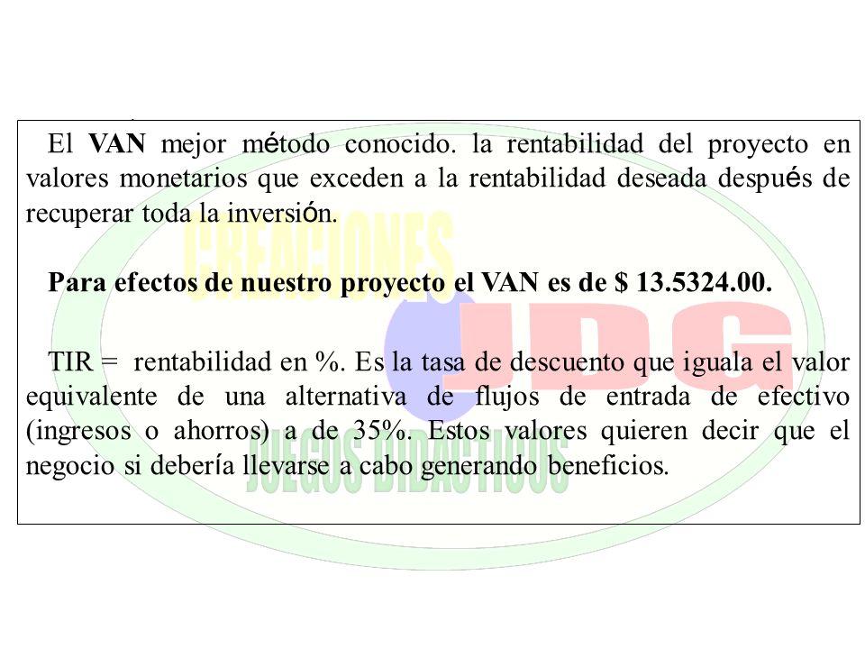 Para efectos de nuestro proyecto el VAN es de $ 13.5324.00.