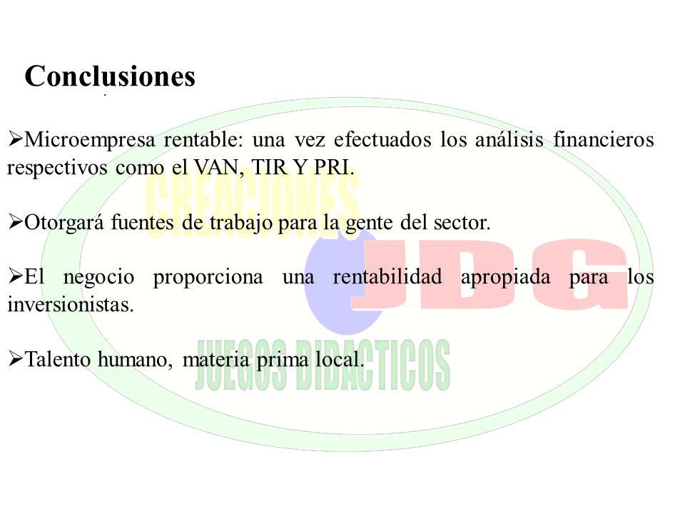 Conclusiones Microempresa rentable: una vez efectuados los análisis financieros respectivos como el VAN, TIR Y PRI.
