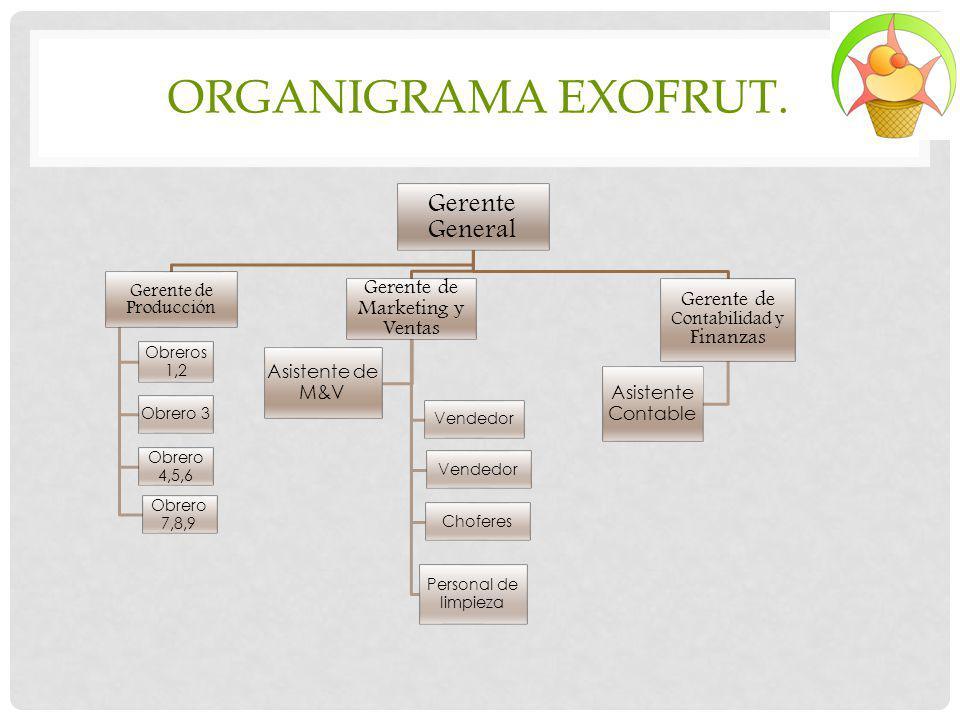 ORGANIGRAMA EXOFRUT. Gerente General