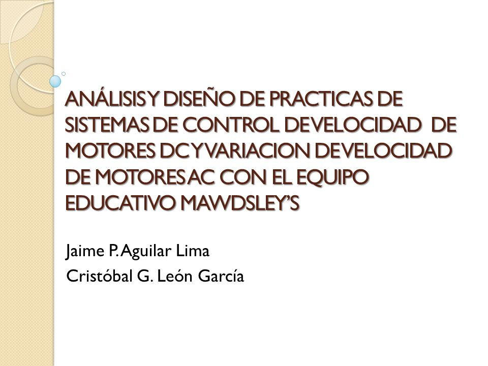 Jaime P. Aguilar Lima Cristóbal G. León García