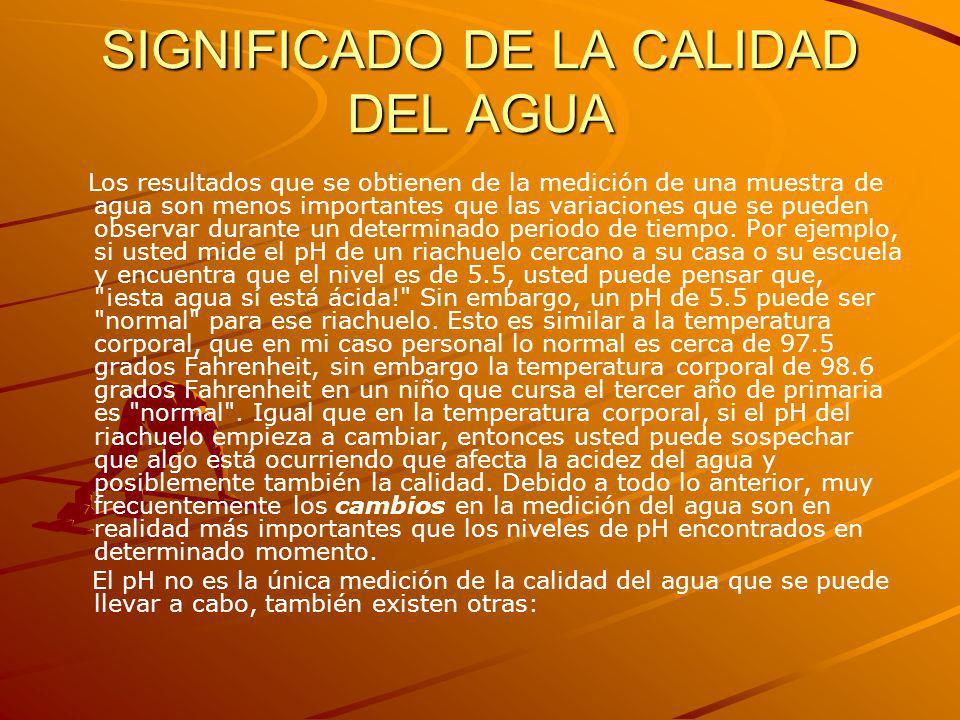 SIGNIFICADO DE LA CALIDAD DEL AGUA