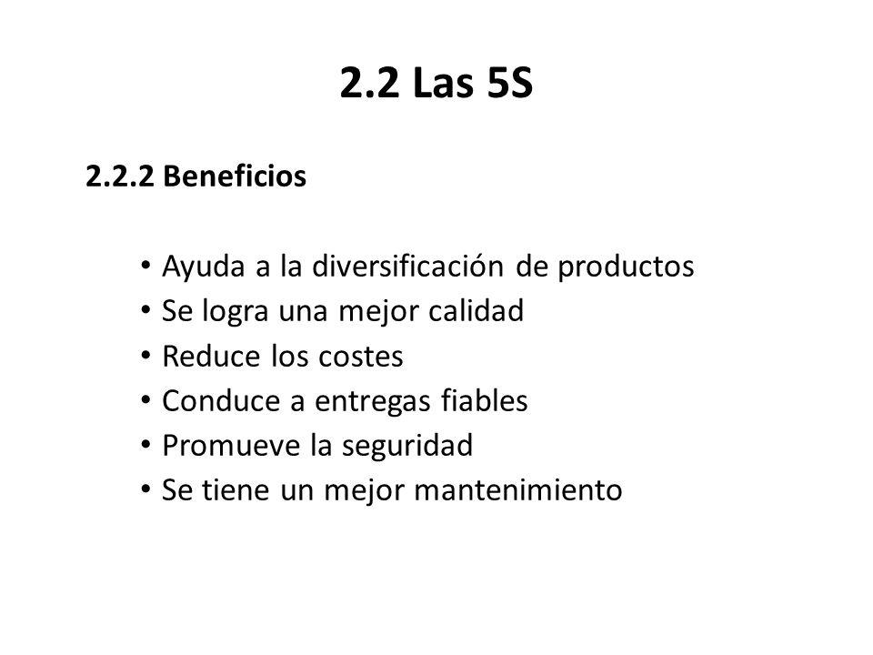 2.2 Las 5S 2.2.2 Beneficios Ayuda a la diversificación de productos